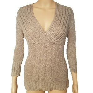 52 Weekends Beige Low Cut V-Neckline Knit Sweater